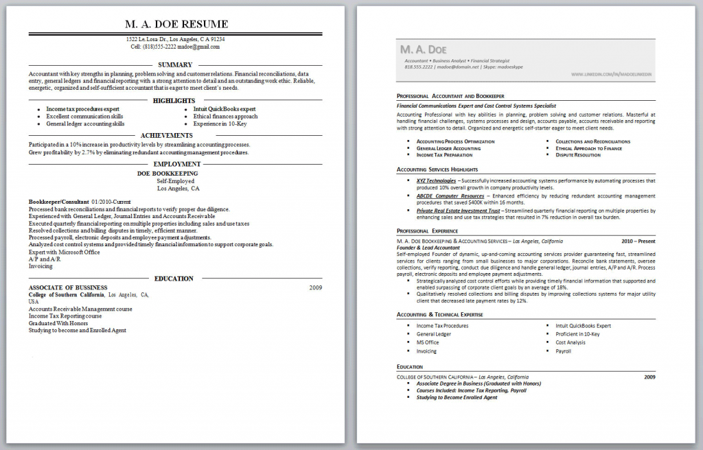 MA Doe Before + After Resumes w/Biz Card Header